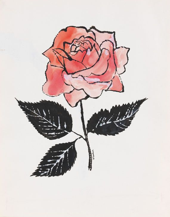 'Untitled' (Pink Rose) by Andy Warhol, c. 1955. India ink, water-colour and tempera.