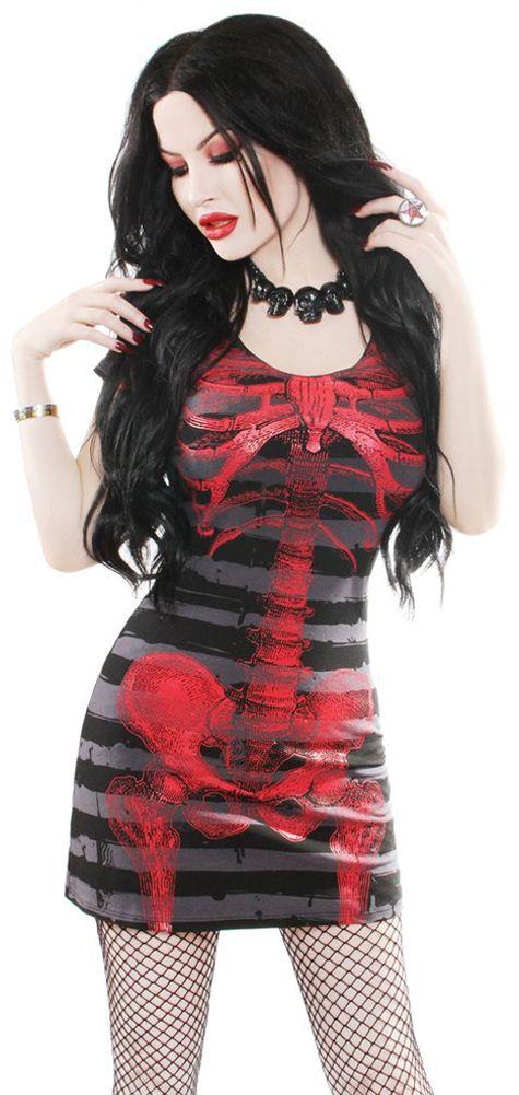 Hell' Boutique - Skeleton Red Striped Dress Bones Goth Horror HellsBoutique.com