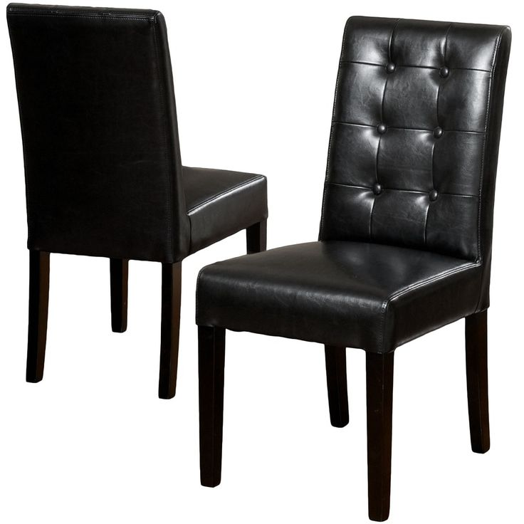 Christopher Knight Home Roland Black Leather Dining Chairs (Set of 2) - Overstock™ Shopping - Great Deals on Christopher Knight Home Dining Chairs