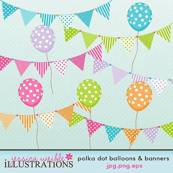 Polka Dot Balloons & Banners Cute Digital Clipart for Card Design, Scrapbooking, and Web Design
