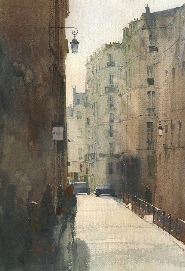 """Good morning"" ""Доброе утро"" By Sergei Kurbatov, Hungarian-born Russian Artist (b. 1970) - watercolor -"