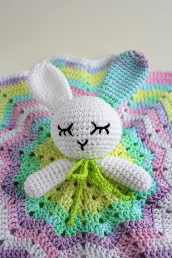 Pastel Bunny Security Blanket  This security blanket will be your babies best sleeping friend! Very soft to touch, nice and vibrant colors, no harsh
