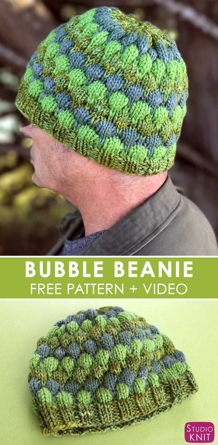 Bubble Beanie Hat for Men with Free Pattern and Video Tutorial by Studio Knit
