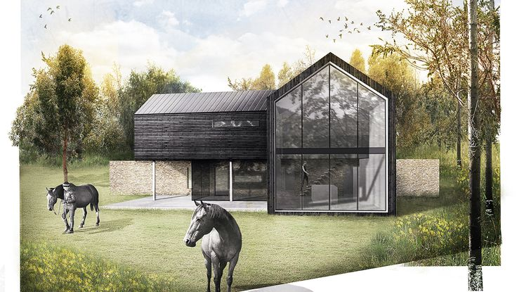 Meadow House Modern Residential new build Contemporary Winchester Hampshire Architects. Architectural Photoshop Render AR Design Studio