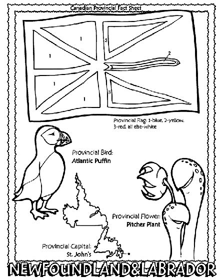 Canadian Province - Newfoundland and Labrador coloring page Helpful for memory work with Claritas Classical Academy Cycle 3 Geography http://claritasclassicalacademy.com/Curriculum.html