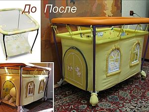 this is from a russian site with a good picture tutorial I really like the idea of making over an out-grown item, but I would eliminate the plastic on the windows and make it a stronger structure some how. Thinking cap.....!