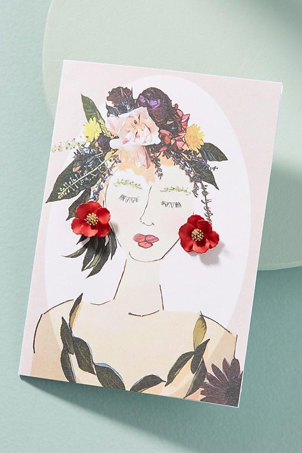 Slide View: 1: Garden Girl Earrings & Postcard