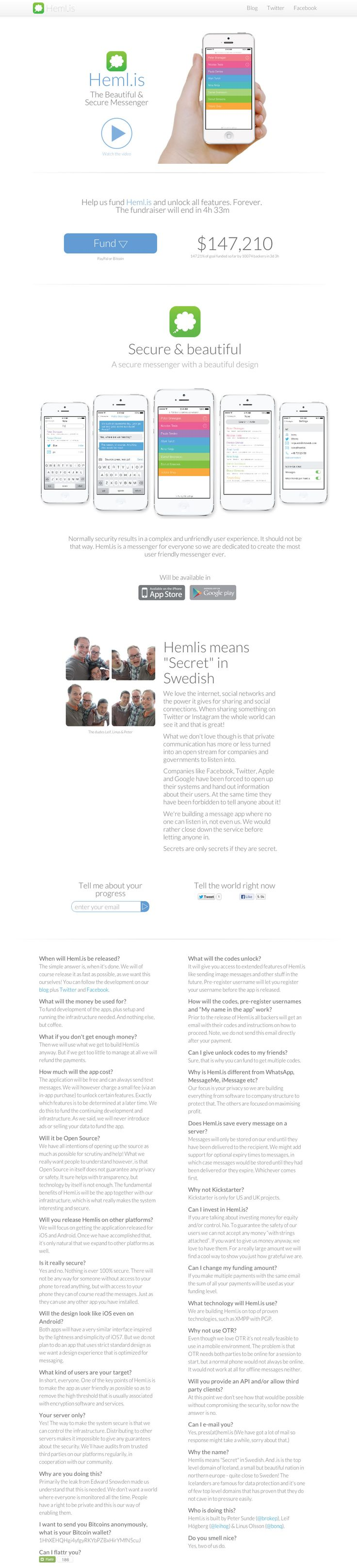 """Crisp responsive one pager aimed to raise funding for an upcoming messaging app called 'Hemlis' - that means """"Secret"""" in Swedish. This app promises to be completely secure and is brought to you by one of the master minds behind The Pirate Bay."""