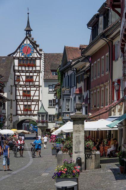 Stein am Rhein, Switzerland. Stein am Rhein is in the canton of Schaffhausen in Switzerland. The town has a well-preserved medieval center, retaining the ancient street plan.