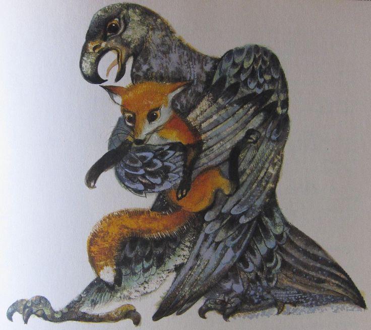 Eagle and Fox. Czech illustrator Karel Franta. Vintage illustration. Animal fairy stories.