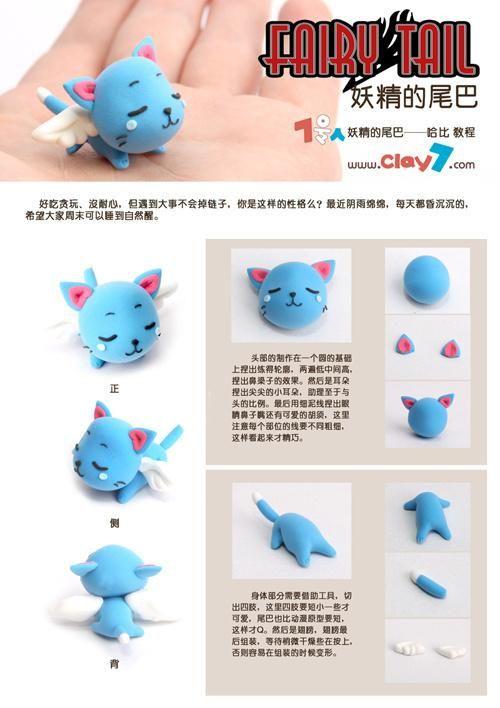 Voici aujourd'hui un très joil tuto photo pour créer un charmant petit chat ailé en pâte polymère. C'est un tuto chiné sur un site chinois (sans jeu de mots), donc ce n'est pas japonais ce coup ci.