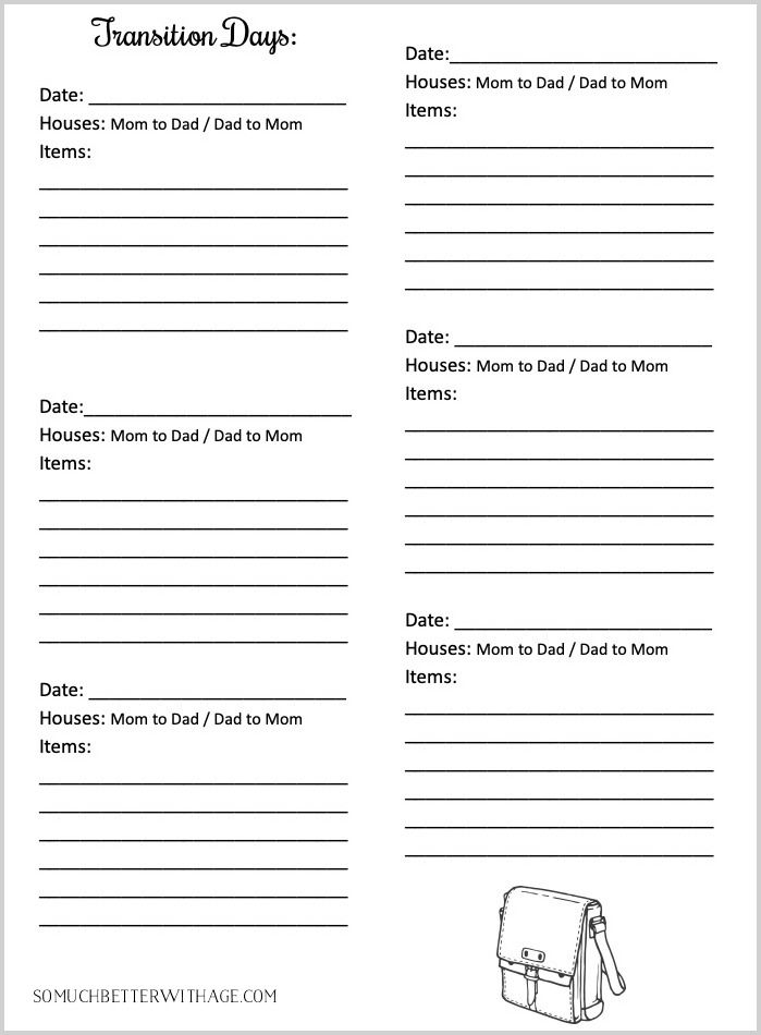 Co Parenting Schedules Free Printables Lists For Two Households To Run Smoothly Co Parenting Schedule Parenting Plan Worksheet Co Parenting Child support worksheet and schedule