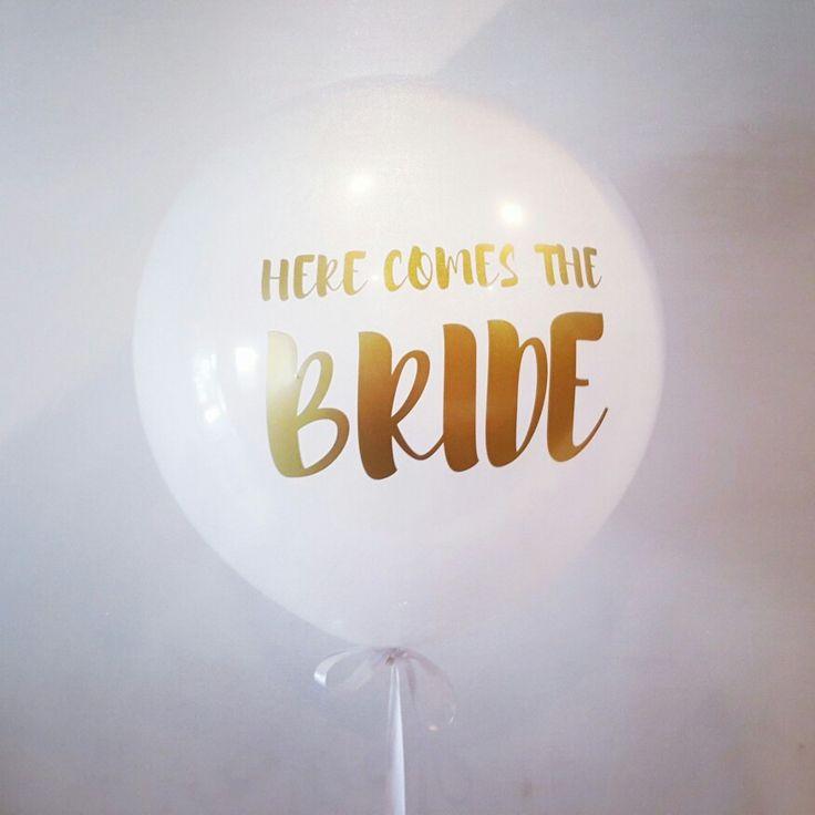 Custom vinyl printing for this special bride. www.balloons.com.au