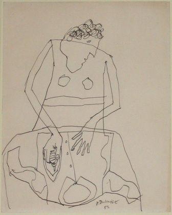Jean Dubuffet. Woman Ironing a Shirt, I. (December 1951)