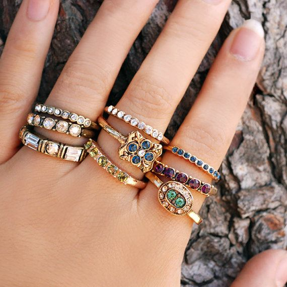 Set of 3 Stack Rings, Gypsy Rings, Swarovski Rings, Gold Stacking Rings, Stacking Rings, Harmony, Ring Set, Wisdom, Boho Rings R100-TRIO