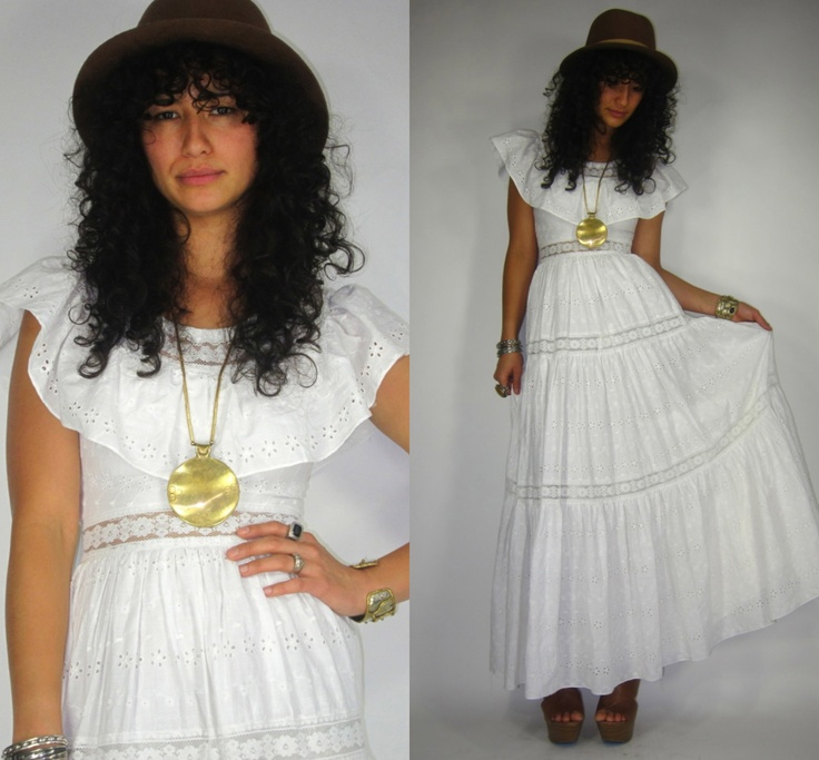 Vtg 60s/70s EYELET Wht SHEER Lace MEXICAN Ruffle WEDDING ...