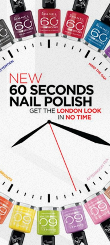 NEW 60 SECONDS NAIL POLISH: 60 Seconds Quick dry nail polish, 1 second application. RIMMEL LONDON COSMETICS