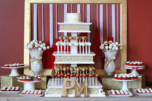 Red, Gold, and White Wedding Dessert Table. It'd be perfect with some more turquoise!!