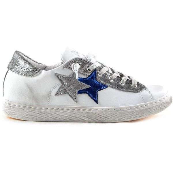 2 Star Glitter Detail Sneakers ($91) ❤ liked on Polyvore featuring shoes, sneakers, white, womenshoes, white lace up shoes, silver glitter shoes, star shoes, silver glitter sneakers and white trainers