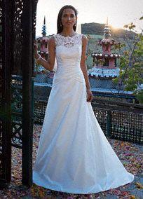 Petite Wedding Dresses, Dresses for Petite Brides - Illusion Lace neckline Style WG3529 $500.00