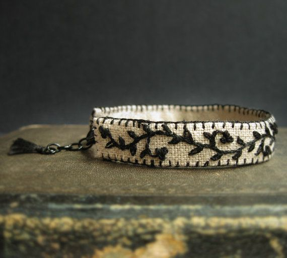 Cuff Bracelet  Hand Embroidered Black Vine on Natural by Sidereal, $28.00