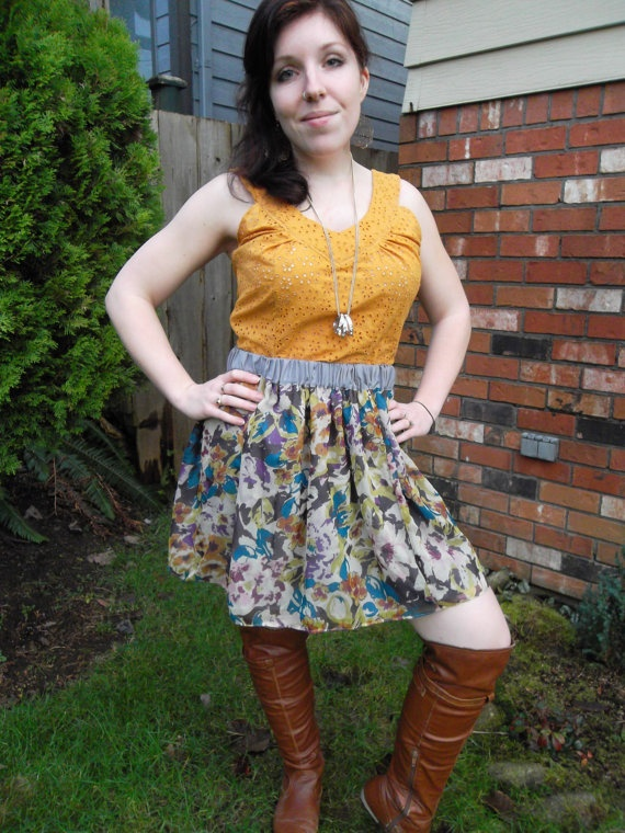 Mustard Yellow Eyelet V-Neck Blouse w/ Back Buttons