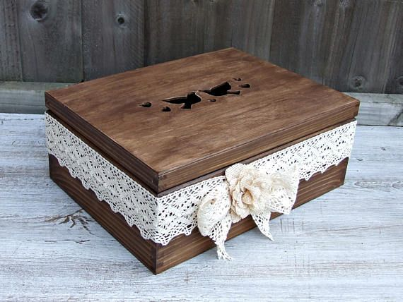 Large wedding box, large wooden wedding box, Rustic wedding box, Shabby chic wedding box, Vintage wedding box, Personalized , Wedding gift