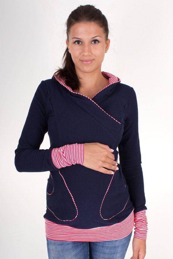 Pretty long sleeve nursing shirt hoodie breast by VivalaMamaBerlin