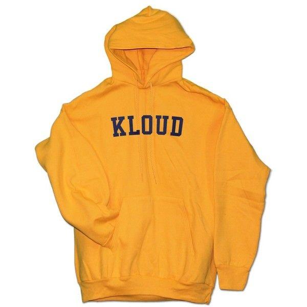 Kloud Varsity Hoodie Gold ($70) ❤ liked on Polyvore featuring tops, hoodies, yellow hooded sweatshirt, yellow hoodies, hooded pullover, gold top and yellow hoodie