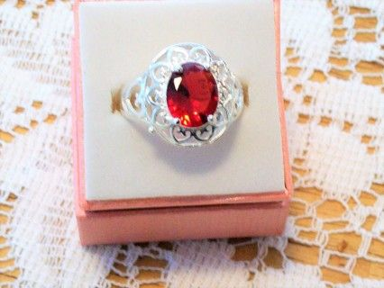 NEW+Stunning+Red+Shades+&+Sterling+Silver+.925+Ring+With+a+Garnet+Stone!    Size+8+1/2    Lasting+Jewelry+    Lasting+Jewelry+is+Fashion+&+Style,+Elegance+&+Uniqueness!+Every+piece+is+hand+made+from+all+over+the+world+with+the+highest+quality+that+can+be+relayed+at+the+absolute+best+prices+availa...