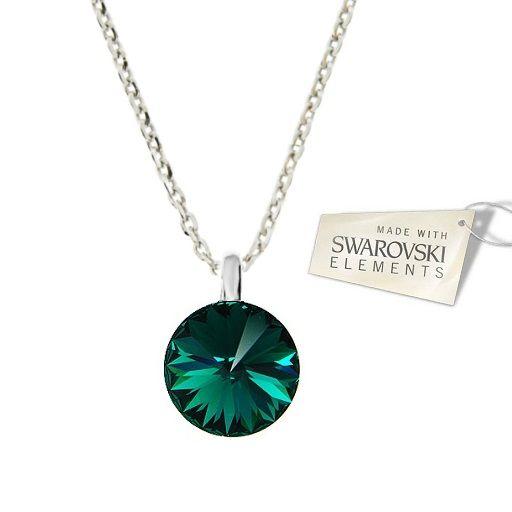 Náhrdelník Swarovski Elements Rivoli Emerald 12 mm Divine Jewellery eshop