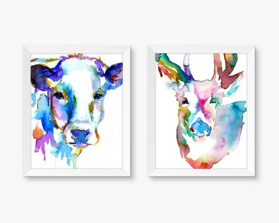 Bold Duo Set Of 2 Watercolor Prints Cow Painting Deer Painting