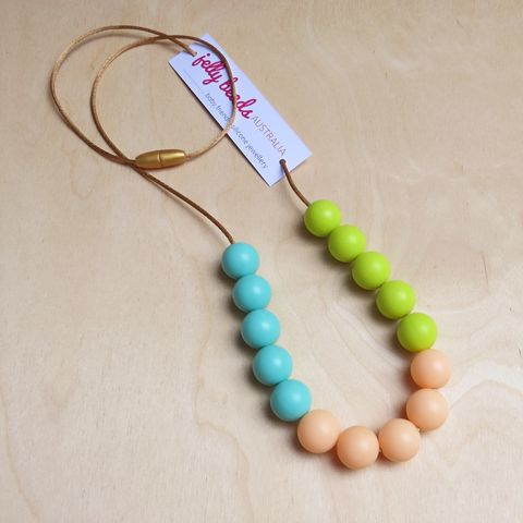 Spring Colours - baby friendly silicone beaded necklace: Aqua, Peach & Lime