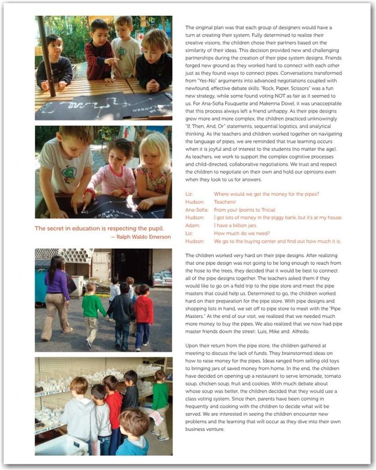 Reggio method documentation of a project.