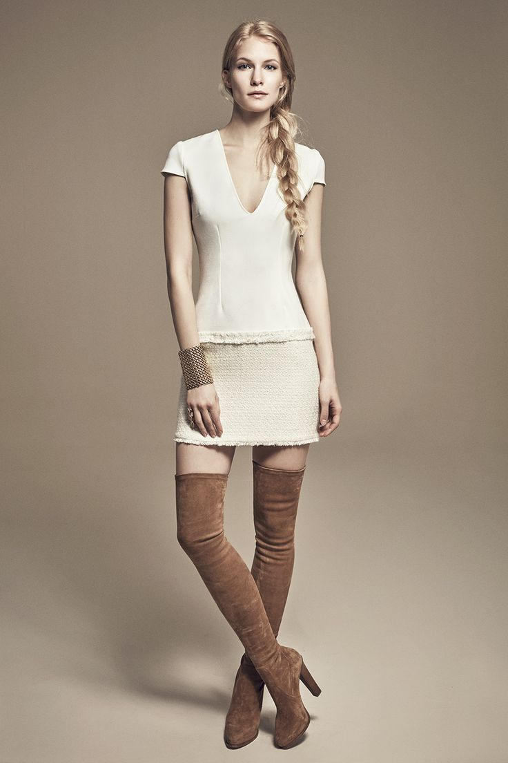 PAM - V-Neck Cap Sleeved Mini Dress w/ Low Waistline & Tweed Skirt
