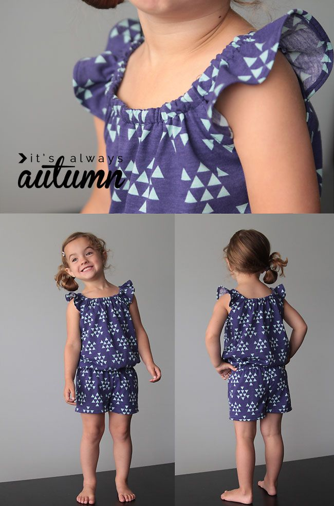 FREE pattern in size 4T - flutter sleeve romper with sewing tutorial | Nähanleitung: Sommer-Jumpsuit für Kinder