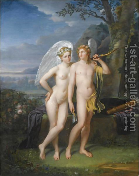 Cupid And Psyche In A Landscape by Robert-Jacques-Francois-Faust Lefevre