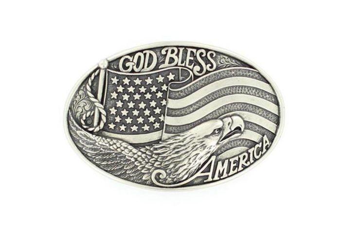 Nocona Western Belt Buckle Mens God Bless America Silver 37016 #Nocona