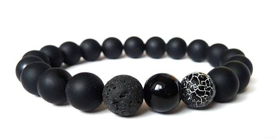 Mens BraceletBoyfriend Gift//Black Onyx Agate by MiTTiNaturals
