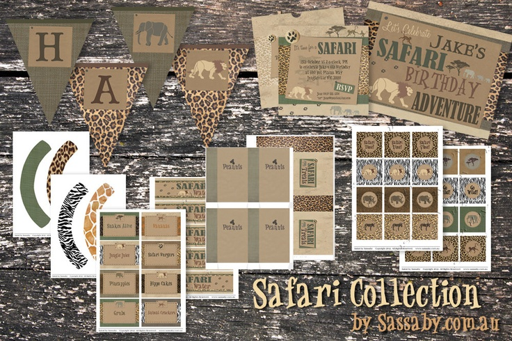 Safari Party Collection - Kids Birthday Party - DIY PRINTABLE FILES