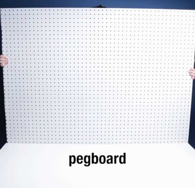 Measure out a peg board to fit the width of your bed. | Literally Anyone Could Make This Tufted Headboard