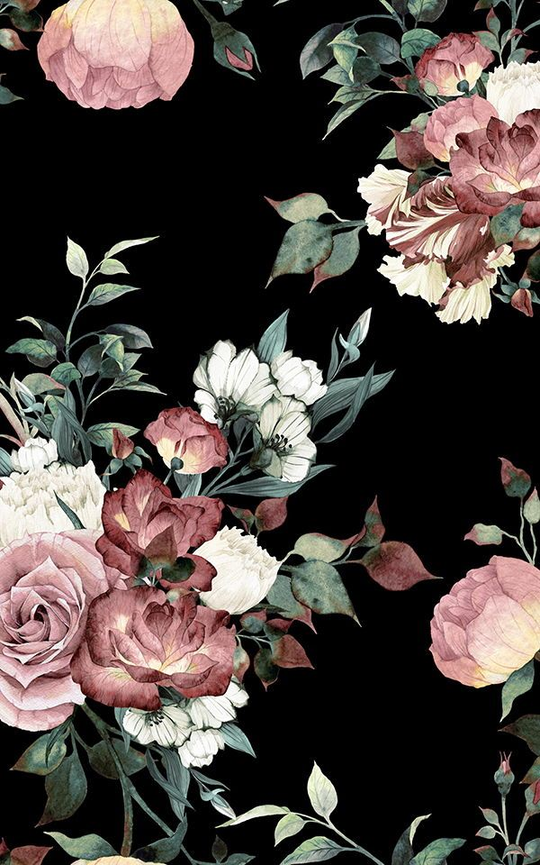 Vintage Pink Black Floral Wallpaper Mural Muralswallpaper