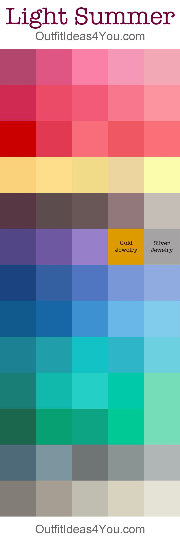 Light Summer Color Palette. Mix of tints and tones. Here you can see also tones for troussers, skirts, jeans, cardigans, trenchcoat, coats, bags, shoes.