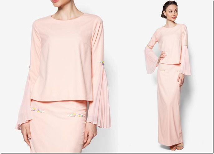 Glamorous Pastel Baju Kurung Ideas For Raya 2016 / peach-side-pleated-sleeve-kurung