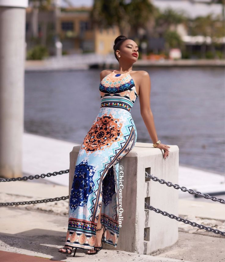 Maldives Mint Orange Multi Color Aztec Print Maxi Dress