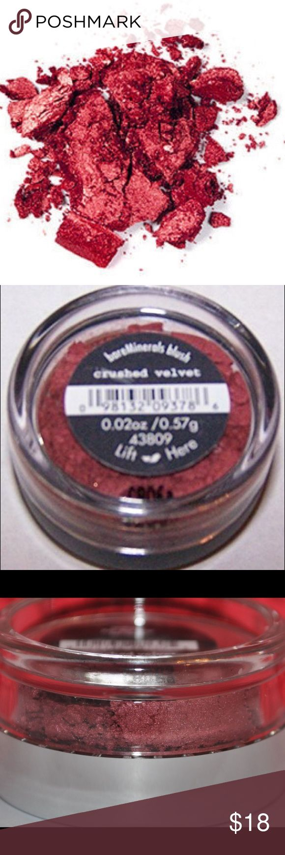 "Bare Minerals Crushed Velvet Blush Dark Red Wine Brand new, SEALED bare minerals blush. Shade ""crushed velvet"", a dark wine red shade. Small sized blush, and like all bare minerals products you can wear it also as an eye Shadow. All natural ingredients. EXTREMELY pigmented. Suitable for all skin tones. Perfect for medium to dark skin tones. If you're light or fair skin tone, only the tiniest amount is needed to achieve this look. Makeup Blush"