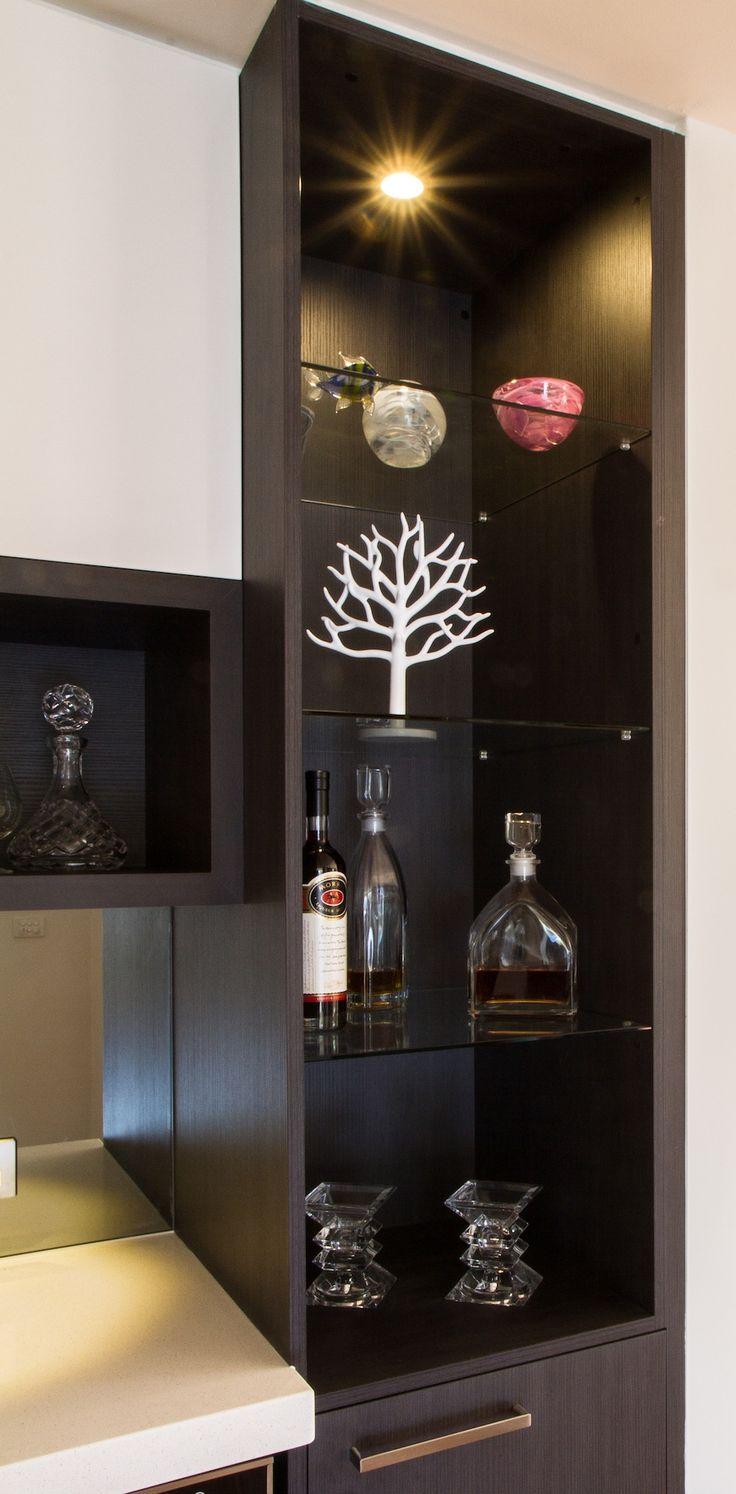 Display cabinet. Modern bar www.thekitchendesigncentre.com.au