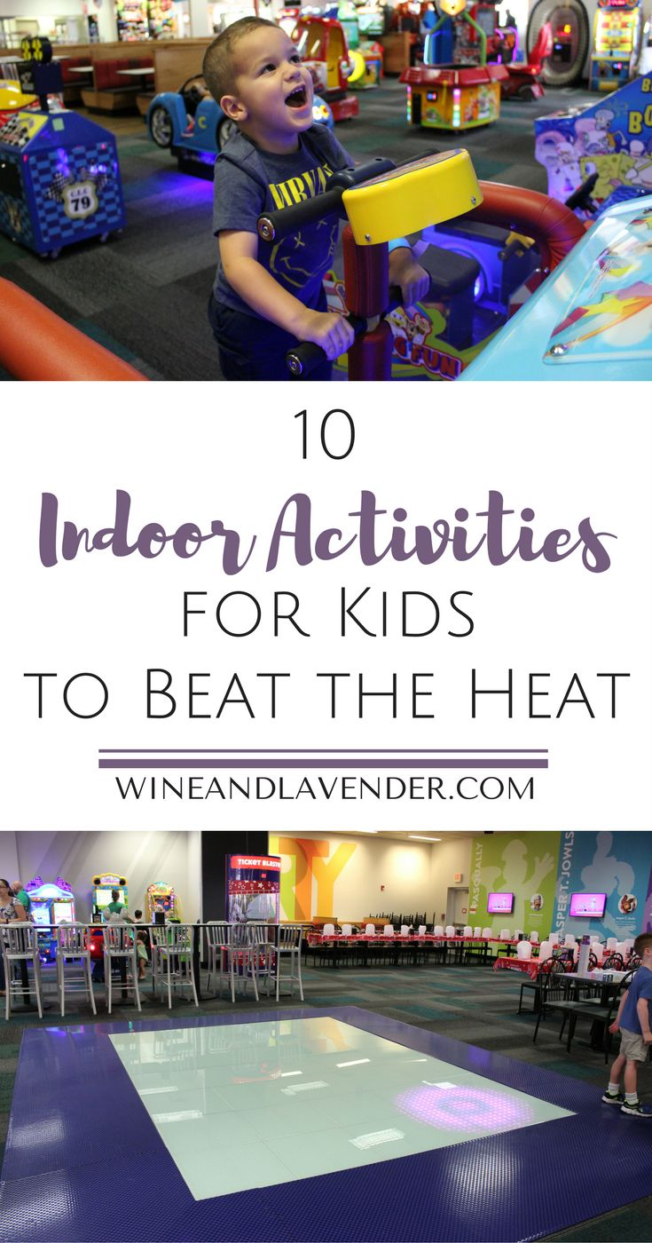 From toddlers to older kids, summer fun usually includes games and food! Check out these 10 Indoor Activities for Kids to Beat the Summer Heat   Ad http://www.wineandlavender.com/experiences/10-indoor-activities-for-kids-to-beat-the-heat-2/