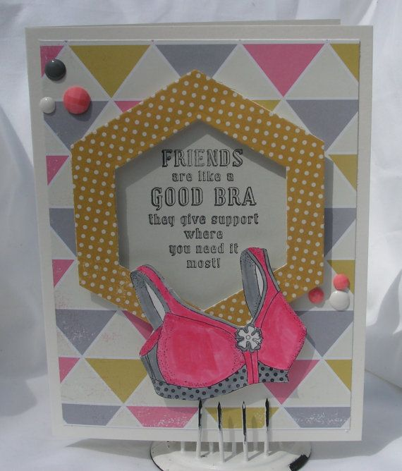 Funny Friendship Bra Support Greeting Card by PlaysNicelyWithPaper