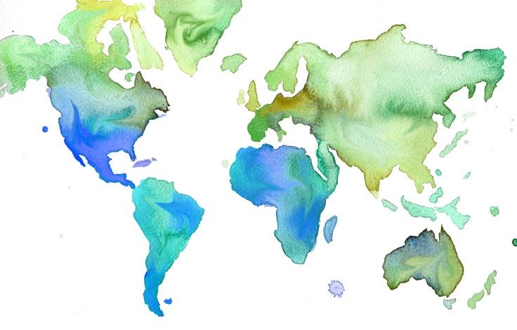 Neon Watercolor World Map - Jessica Durrant